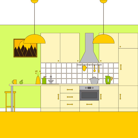 extractor: Liner flat style kitchen interior. Furniture, extractor hood, built-in appliances, electric kettle, rail on ceramic tile wall with oven-glove, spoon, spatula, dishes,sink, tap, lamp, bar stool