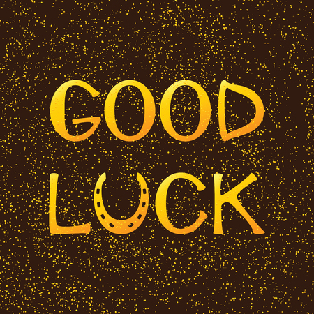 good luck charm: Golden colored lettering good luck with horseshoe as letter u on brown background with golden dotes. Design element