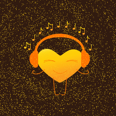 it is isolated: Golden colored heart character with closed eyes and smile in orange headphones with note around it isolated on brown background with golden dotes. Greeting card  party invitation design element. Music fan concept. template, design element Illustration