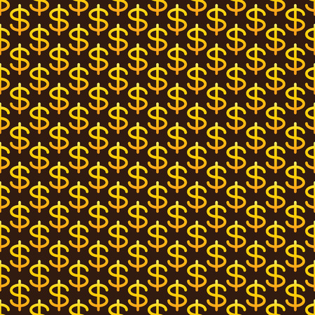 american currency: Seamless pattern with golden colored dollar sign situated on brown background with golden dotes. Concept of national American currency strength