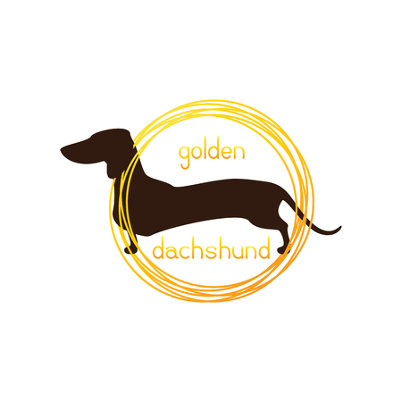 wiener: Dachshund template. Brown dachshund and lettering golden dachshund inside golden rings isolated on white background. template, design element