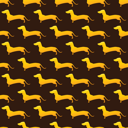 yelp: Seamless pattern with repeating golden silhouette of standing dachshund isolated on brown background