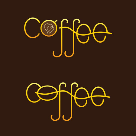 golden bean: Set of two golden colored lettering coffee. One with cup of coffee with two creamy hearts on surface of beverage as letter o and another with coffee bean as letter o isolated on dark brown background. template, design element