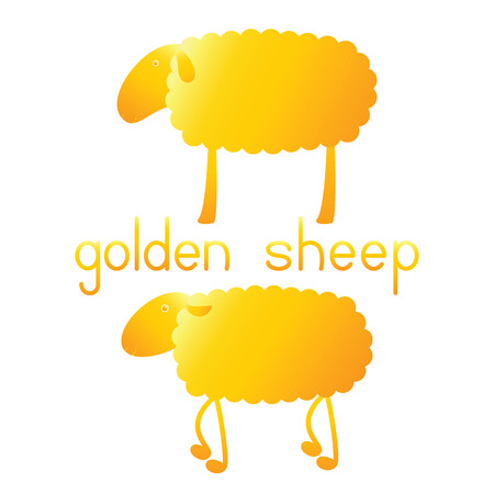 fab: Set of two golden sheep and lettering golden sheep isolated on white background. template, design element