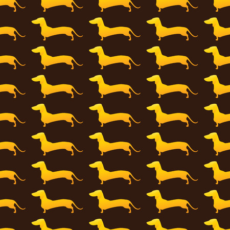 Seamless background with repeating golden silhouette of standing dachshund isolated on brown background