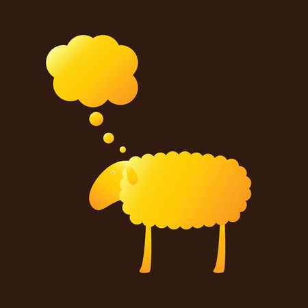 kiddy: Golden sheep with dream bubble isolated on brown background. template, design element Illustration