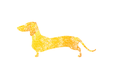 Golden colored shabby silhouette of standing dachshund isolated on white background. template, greeting card  party invitation design element Illustration