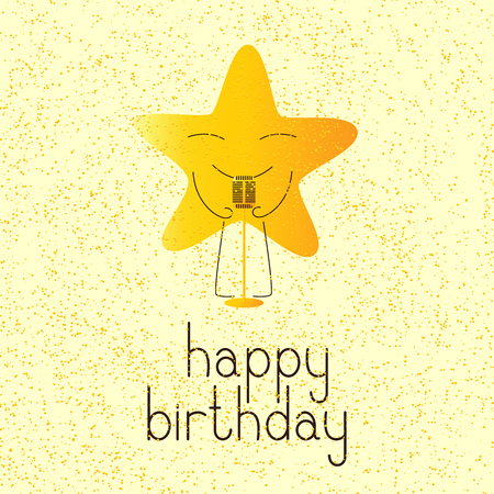 fab: Happy birthday greeting card with golden colored cartoon star character with retro microphone and lettering Happy birthday in English on yellow background and golden dotes