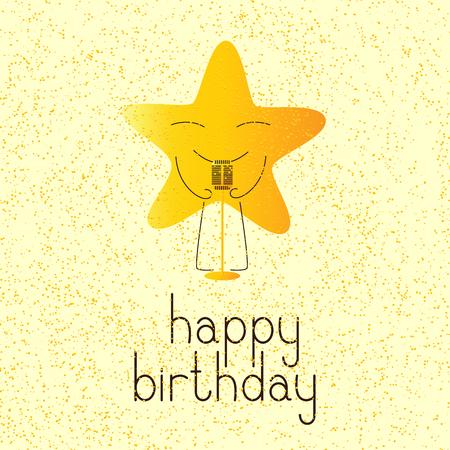 enamorados caricatura: tarjeta de felicitación de cumpleaños feliz con carácter de color oro estrella de la historieta con el micrófono retro y letras feliz cumpleaños en Inglés sobre fondo amarillo y dotes de oro