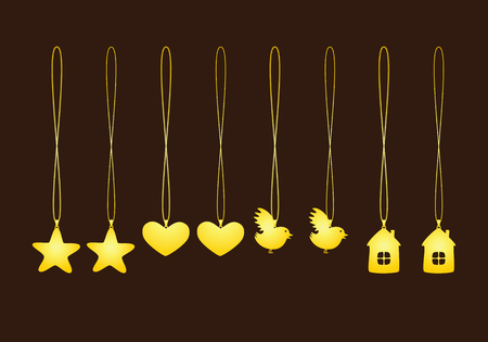 necklet: Set of golden pendants isolated on brown background. Two types of chains. Pendants in shape of star, heart, bird and house