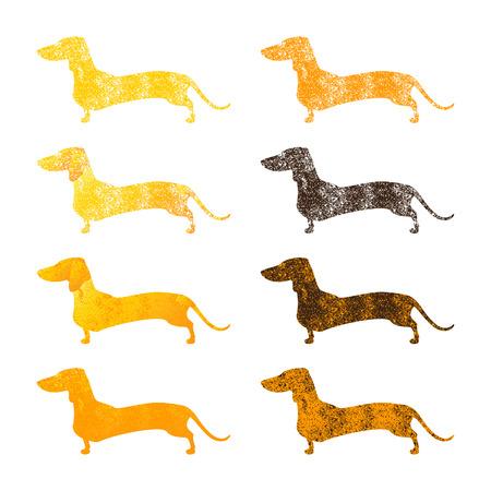 Vintage conjunto de diferentes siluetas de color en mal estado de pie perros salchicha aislados sobre fondo blanco. Foto de archivo - 55013850