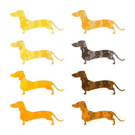 Vintage set of different colored shabby silhouettes of standing dachshunds isolated on white background. Иллюстрация
