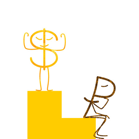 fab: Shabby golden dollar and rusty ruble characters. Proud dollar standing on high step and sad ruble sitting in low step. Profit and loss diagrams. Concept of difference in exchange rates