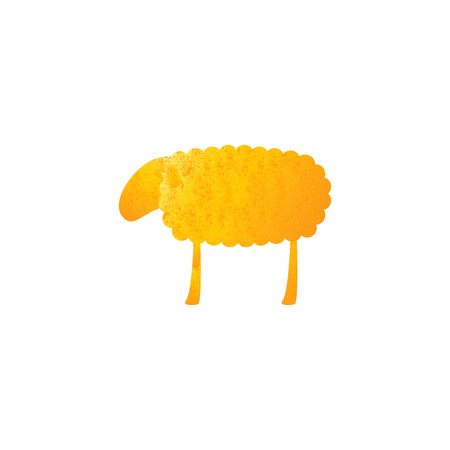 fab: Vintage golden colored sheep isolated on white background. Illustration