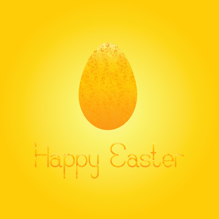 fab: Greeting card with shabby golden egg and lettering Happy Easter isolated on shining background Illustration