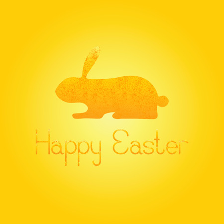 fab: Greeting card with shabby golden bunny and lettering Happy Easter isolated on shining background