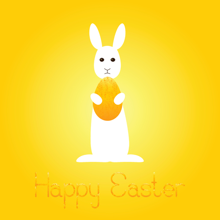 fab: Greeting card with white bunny holding shabby golden egg and lettering Happy Easter isolated on shining background Illustration