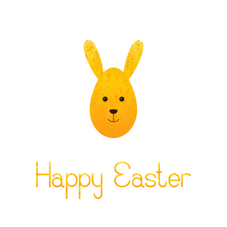 fab: Greeting card with shabby golden egg rabbit and lettering Happy Easter isolated on white background