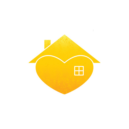 hypothec: Shabby golden colored house with in the shape of heart with roof and chimney on it and big window isolated on white background. Illustration