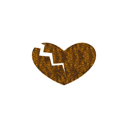 parting: Rusty heart separated with lightning into two parts. Concept of cardiac disease, broken heart, big love and strong passion.