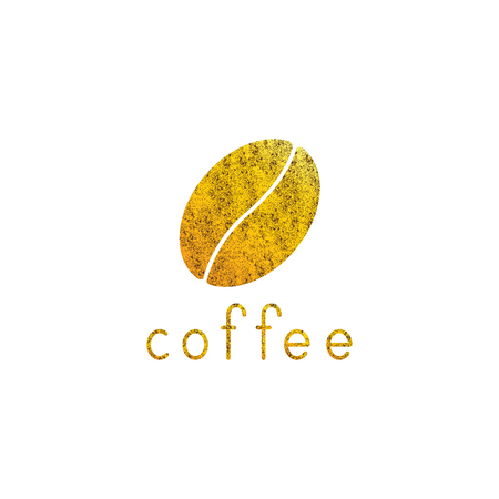 golden bean: Shabby golden colored coffee bean and lettering coffee isolated on white background. Illustration