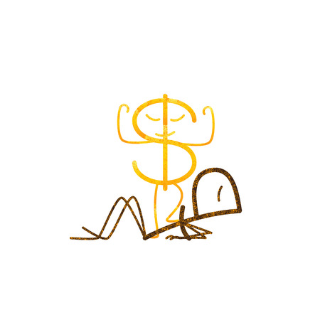 rates: Ruble and Dollar characters. Proud shabby golden dollar standing with one leg on lying rusty ruble. Concept of difference in exchange rates