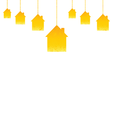 housewarming: Shabby golden colored hanging houses isolated on white background. Greeting card  housewarming template Illustration