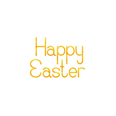fab: Greeting card with shabby golden lettering Happy Easter isolated on white background Illustration