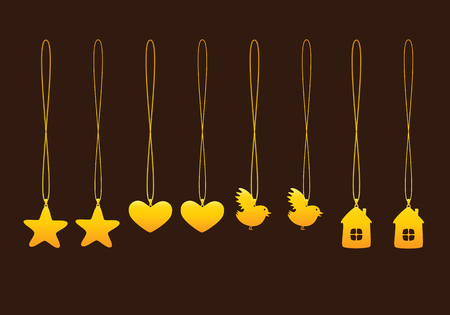 necklet: Set of golden pendants with two types of chains isolated on brown background. Pendants in shape of star, heart, bird and house