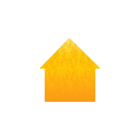 pledge: Shabby golden colored house isolated on white background. New house concept. Illustration