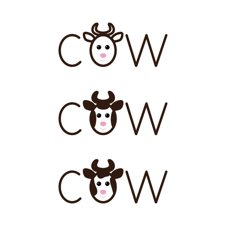 fab: Set of cow lettering with lettering o in the shape of cow`s head with horns isolated on white background.