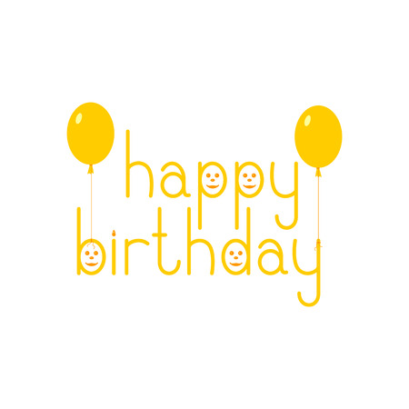 fab: Orange colored Happy birthday lettering in English with funny faces and balloons isolated on white background. Flat style illustration. Design element