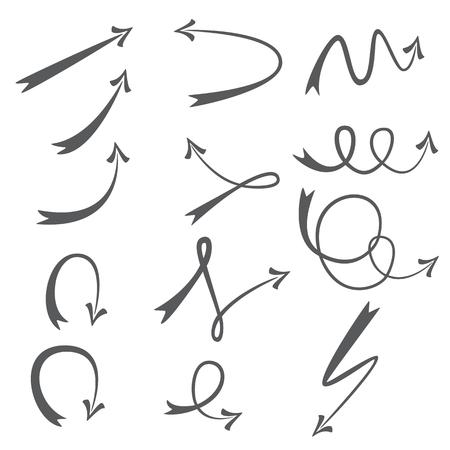 Set of different shaped arrows. Design elements