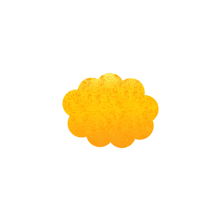 fab: Shabby golden colored cloud isolated on white background.