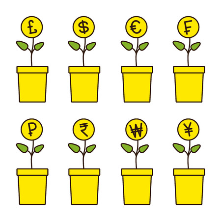won: Set of flowerpots with growing money plants. Pound, dollar, euro, frank, ruble, rupee, won, yen, yuan Investment concept. Linear flat style illustration Illustration