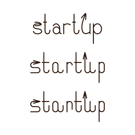 u s: Set of startup letterings with arrows on letter s and letter u. Illustration