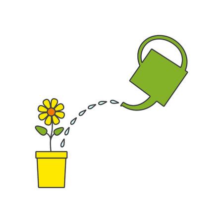 watering pot: Green watering pot, water drops, bright flower in yellow flowerpot. Linear flat style illustration. Design element