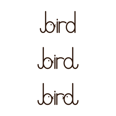 fab: Set of bird lettering with letter b and stylized b isolated on white background.