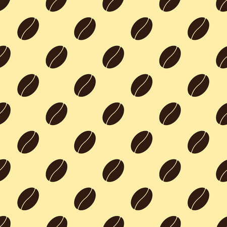 creamy: Seamless pattern with repeating brown colored coffee bean isolated on creamy background