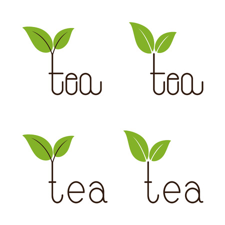 growing plant: Set of brown colored tea lettering with two green leaves over letter t isolated on white background.