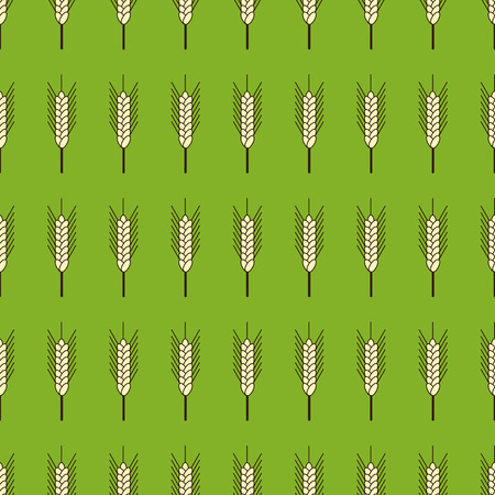 wheat isolated: Seamless background with repeating ears of wheat isolated on green backdrop