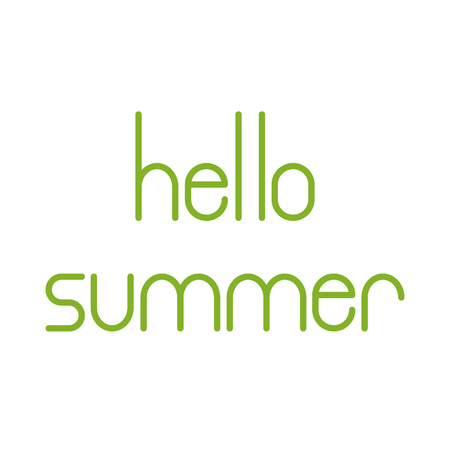 fab: Green colored Hello summer lettering isolated on white background. Design element  greeting card template