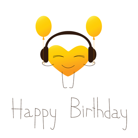 fab: Golden colored cartoon heart character in headphones with balloons and lettering Happy Birthday in English isolated on white background. Design element. Greeting card. Invitation template Illustration