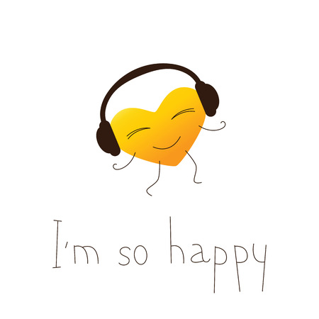 im: Golden colored cartoon heart character in headphones and lettering I`m so happy in English isolated on white background. Design element. Greeting card. Invitation template