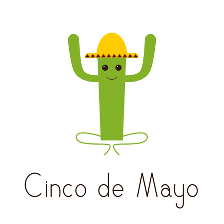 fab: Cinco de Mayo greeting card with happy cactus character in yellow sombrero and lettering Cinco de Mayo isolated on white background