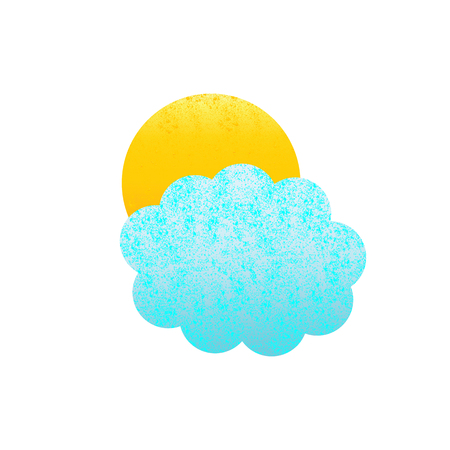 fab: Shabby blue colored cloud and yellow sun isolated on white background.