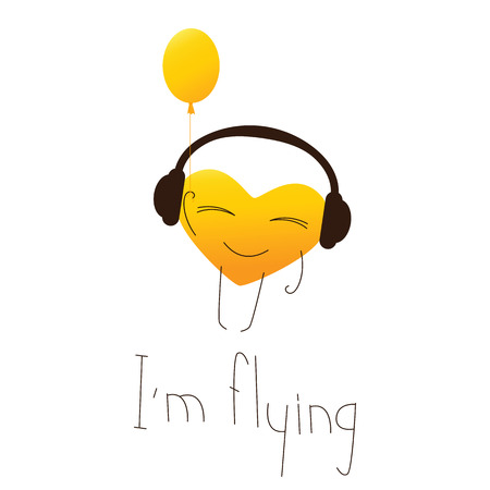 fab: Golden colored cute cartoon heart character in headphones with balloon in one hand and lettering I�m flying in English isolated on white background. Design element. Greeting card. Invitation template