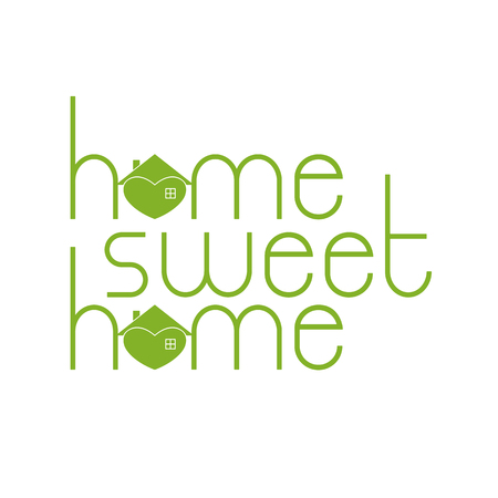 hearty: Home sweet home lettering with hearty house as letter o isolated on white background.