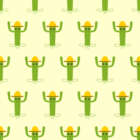 fab: Seamless pattern with mexican cactus isolated on yellow background