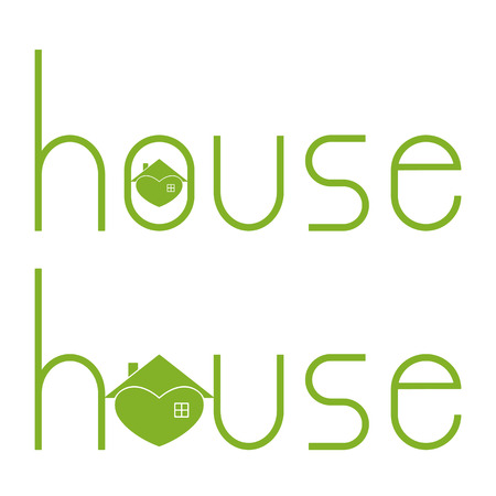 Set of house lettering with hearty house as letter o isolated on white background.